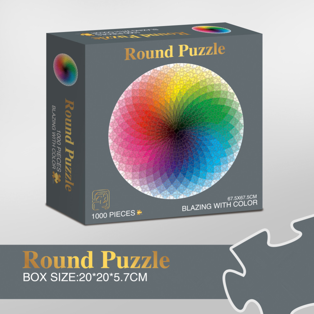 1000pcs/box Colorful Jigsaw Puzzle Rainbow Round Paper Geometrical Adult Kid DIY Educational Toy  Thousand-color rainbow