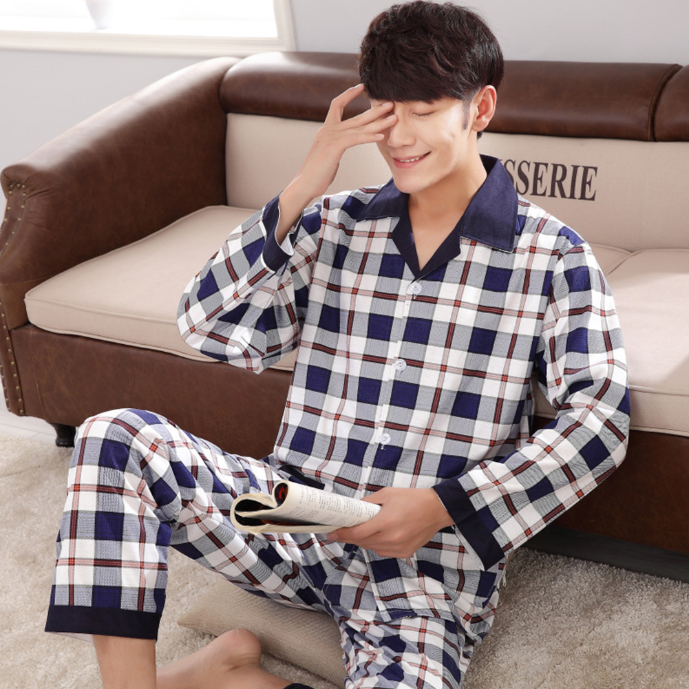 Men Comfortable Spring and Autumn Cotton Long Sleeve Casual Breathable Home Wear Set Pajamas 5611_L