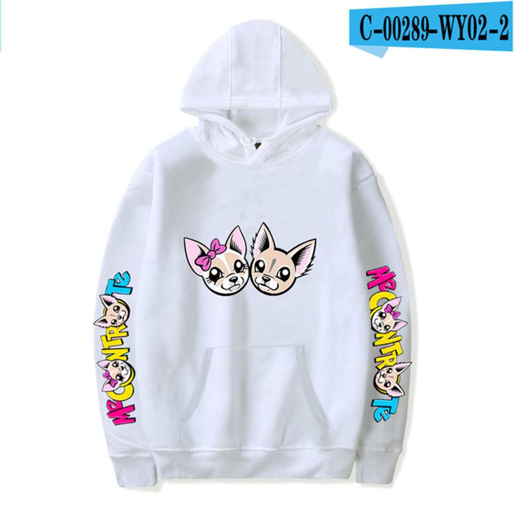 Fashion Me Contro Te Printing Hooded Sweatshirts D white_M