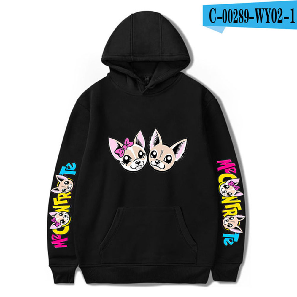 Fashion Me Contro Te Printing Hooded Sweatshirts D black_L