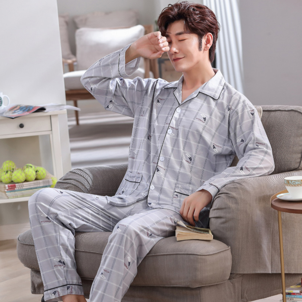 Men Comfortable Spring and Autumn Cotton Long Sleeve Casual Breathable Home Wear Set Pajamas 5638_L