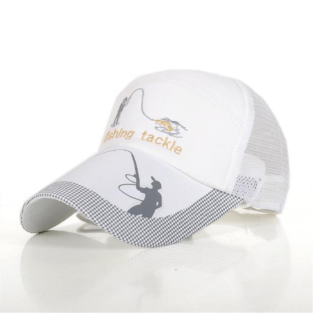 Men Outdoor Baseball Cap Sun Screen Mesh Hat Fishing Breathable Hat white_adjustable
