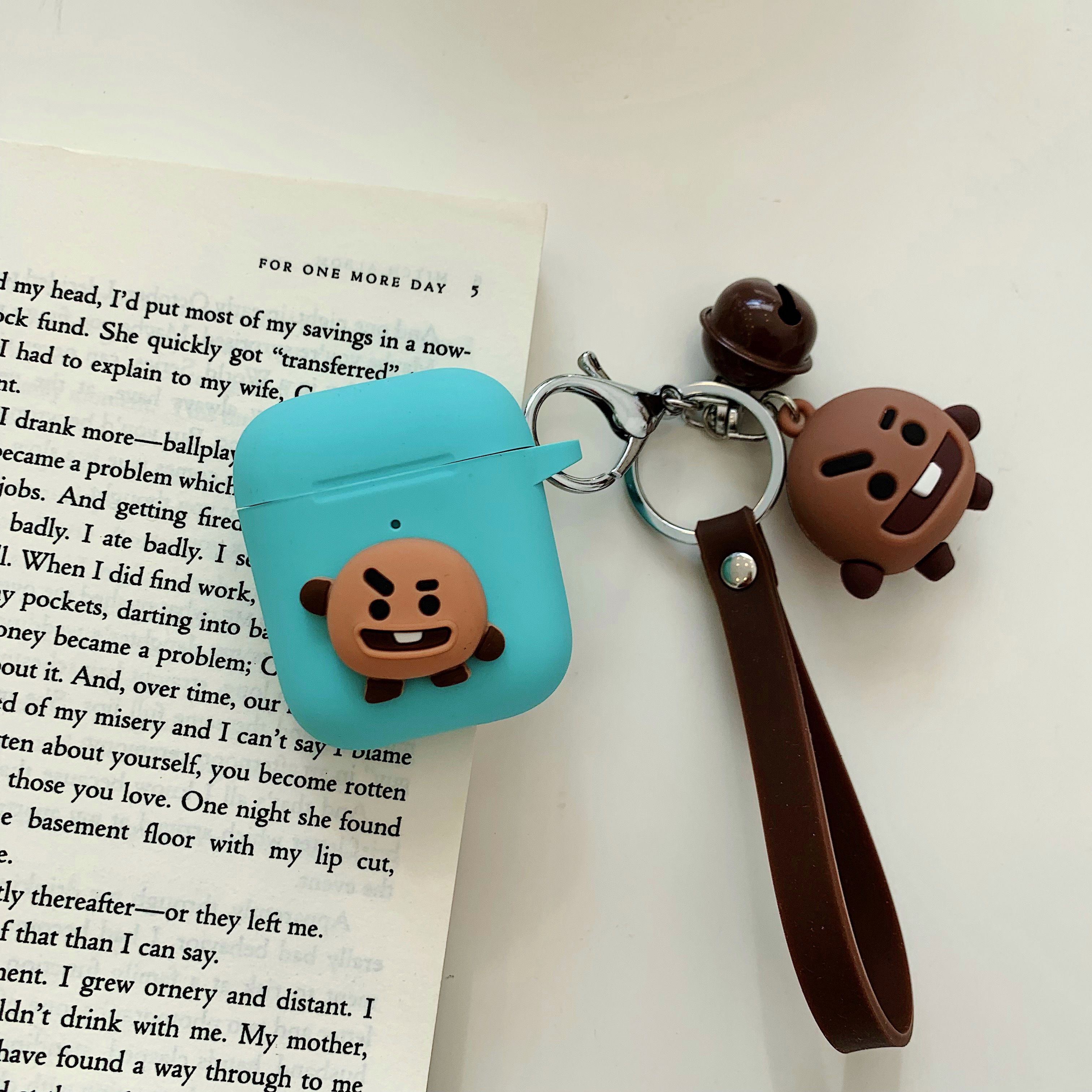 Cartoon Animal Doll Keychain for Apple Airpods Case Accessories Protective Cover green