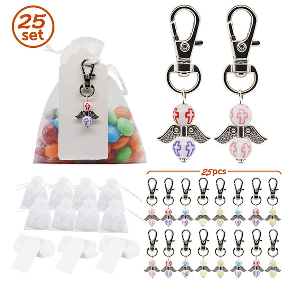 25 Pcs Angel Wings Supplies Birthday Wedding Decoration Gift Keys Chain Color mixing_Set
