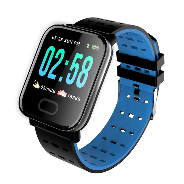 Smart Watch A6 Heart Rate Monitor Blood Pressure Waterproof Smart Bracelet Smartwatch Clock blue