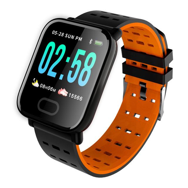 Smart Watch A6 Heart Rate Monitor Blood Pressure Waterproof Smart Bracelet Smartwatch Clock Orange