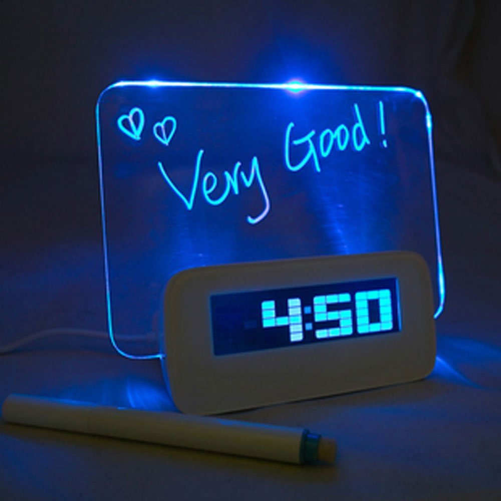 Computer HIGHSTAR Blue LED Luminous Message Board Digital Alarm Clock with 4-Port USB Hub Temperature Calendar