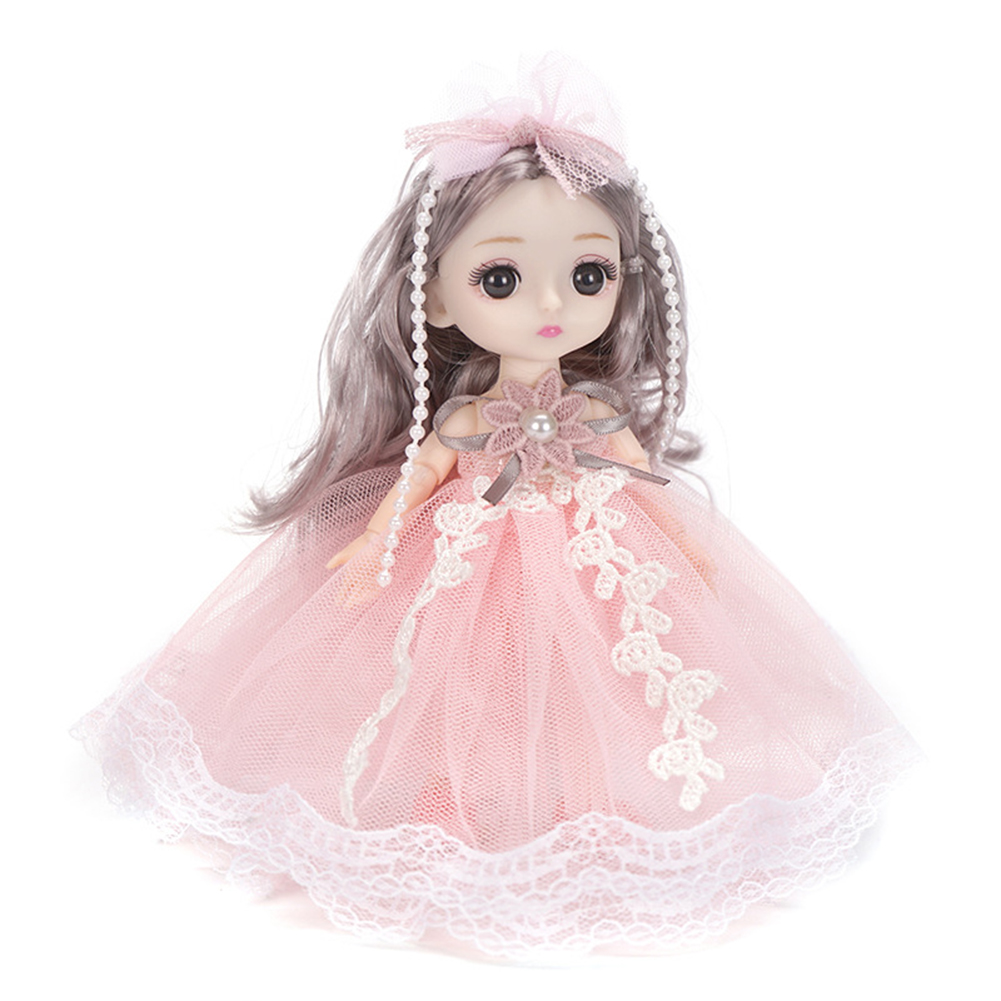 18cm Bjd Joint  Doll Cute Style Clothes Simulation Princess Dress Up Toy For Kids Pink