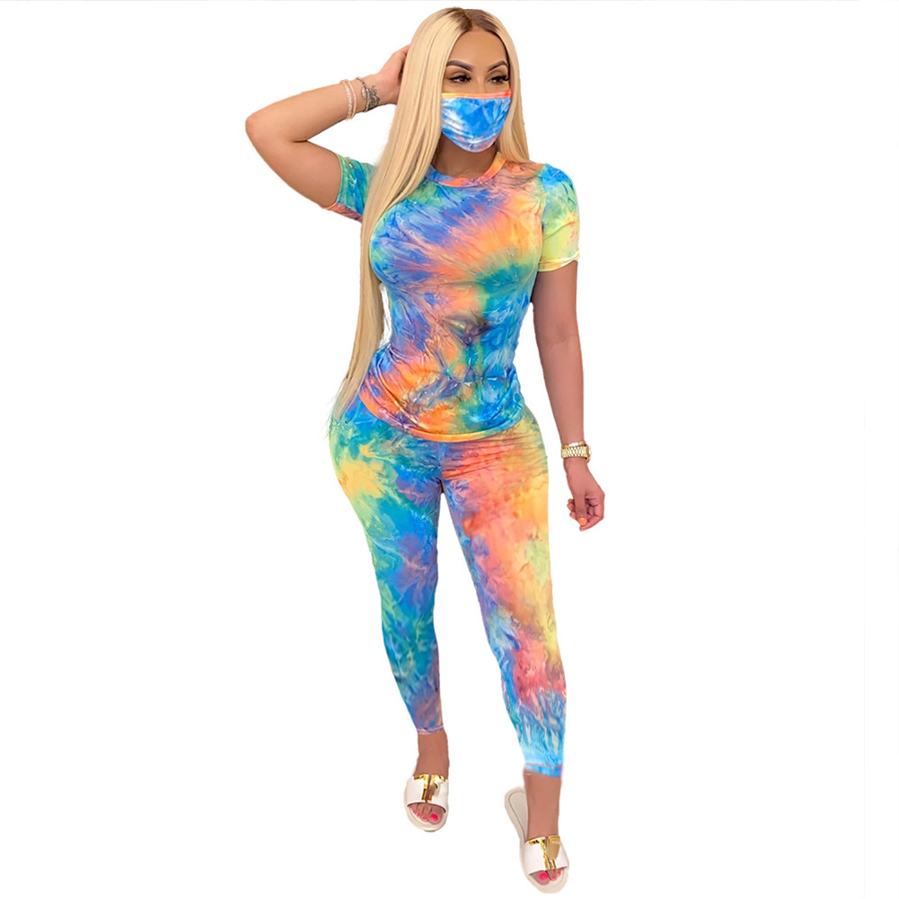 3 Pcs/set Women's Suit Tie-dye Crew-neck Casual Home Sports Suit Top+shorts+ Mask Blue yellow_L