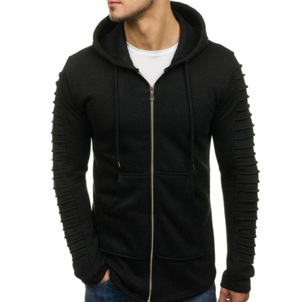 Men Strip Sweater Long Sleeve Casual Hooded Hoodie Outdoor Sports Jacket  black_L