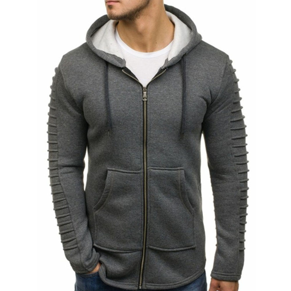 Men Strip Sweater Long Sleeve Casual Hooded Hoodie Outdoor Sports Jacket  gray_M
