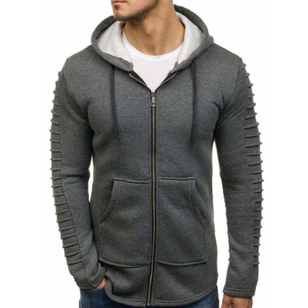 Men Strip Sweater Long Sleeve Casual Hooded Hoodie Outdoor Sports Jacket  gray_L