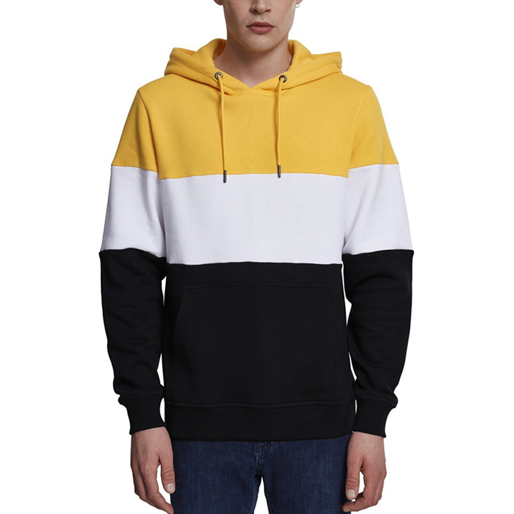 Men Autumn Winter Creative Solid Color Casual Hooded Loose Sweater Shirt Tops Yellow white black_L