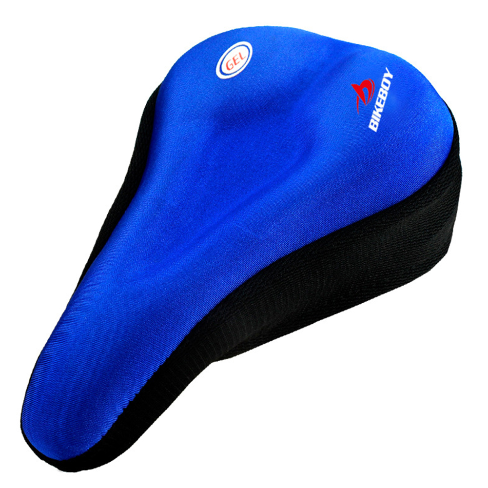 Bicycle Saddle Cover Silicone Thickened Mountain Bike Comfortable Sponge Bicycle Seat Cover blue_Length 28X width 18