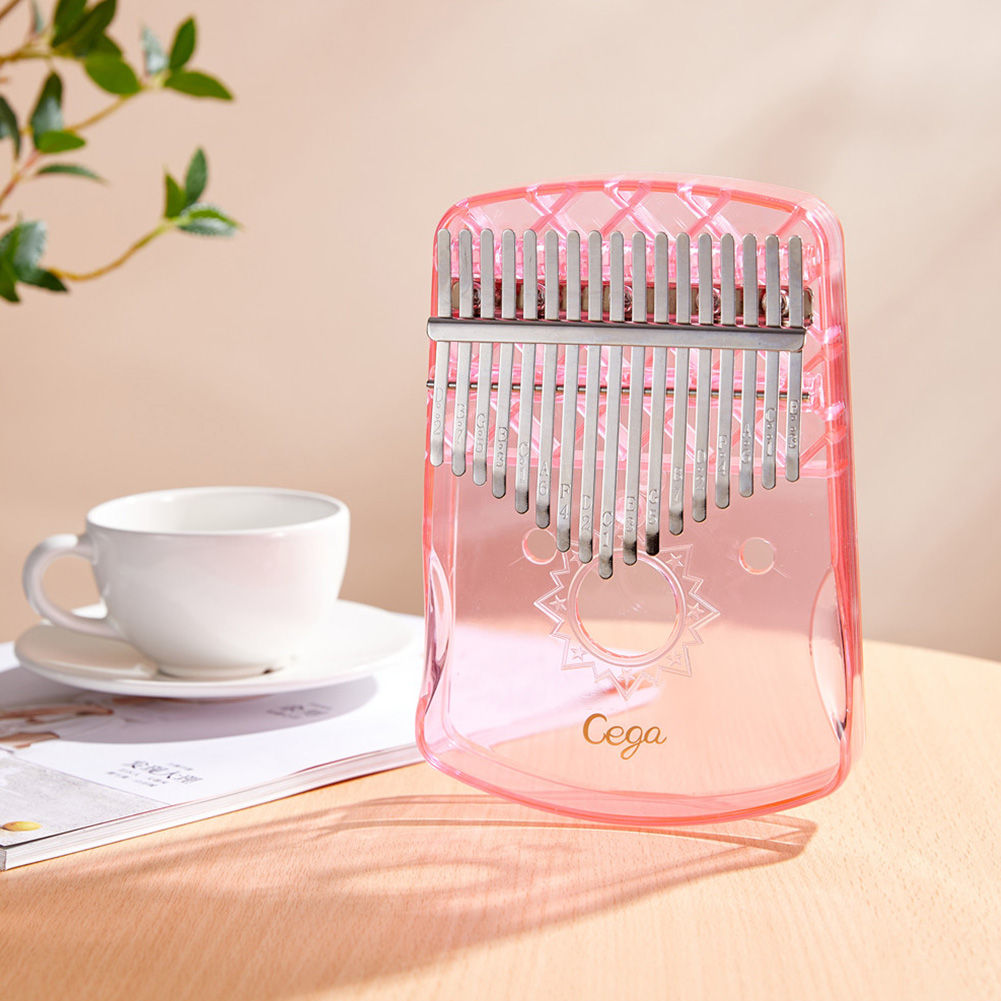 17 Keys Kalimba Thumb Piano Portable Transparent ABS Mbira Keyboard Finger Musical Instrument Pink_Transparent