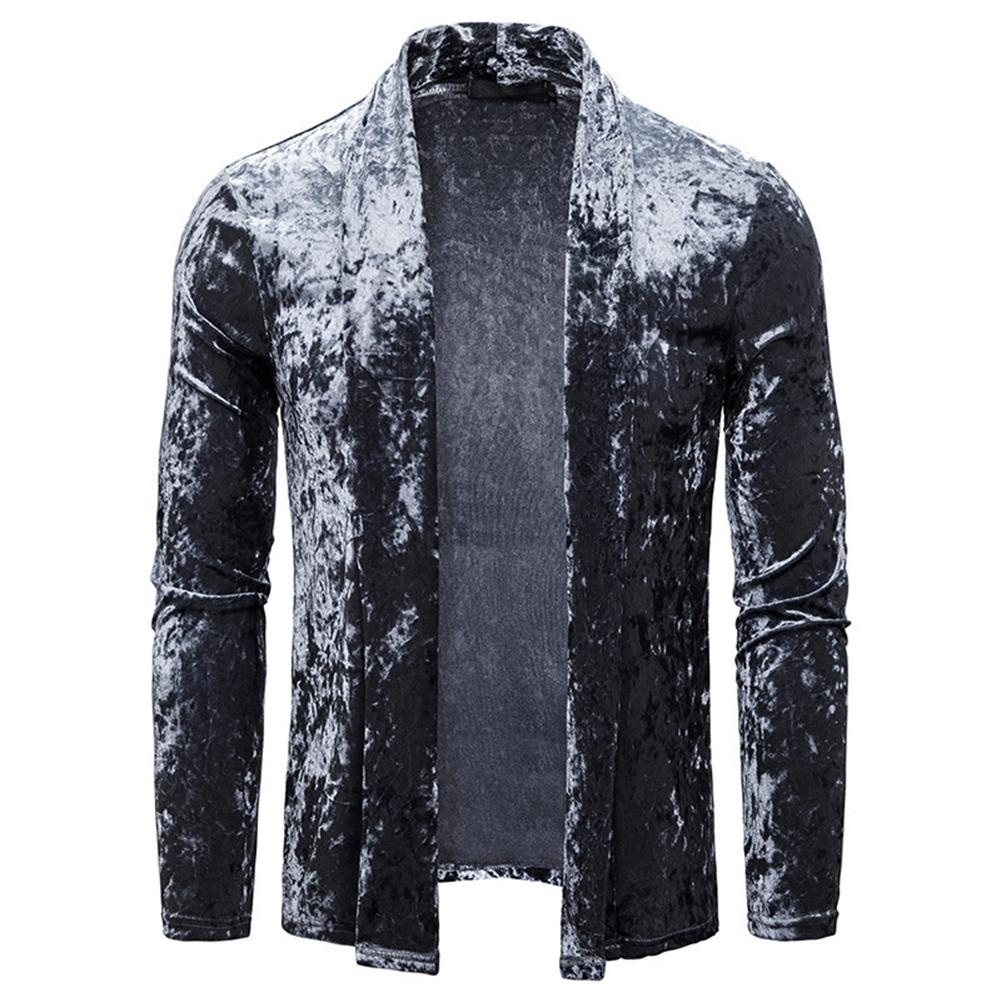 Men's Jacket Basic Fit Type Long-sleeve Lapel Mid-length Cardigan Dark gray _L