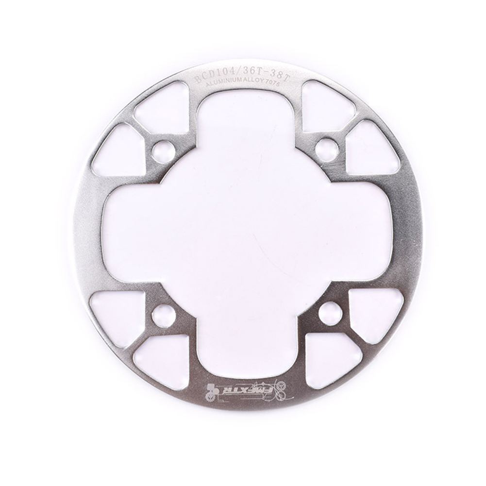 104bcd MTB Bicycle Chain Wheel Protection Cover Bicycle Protection Plate Guard Bike Crankset Full Protection Plate 36-38T silver
