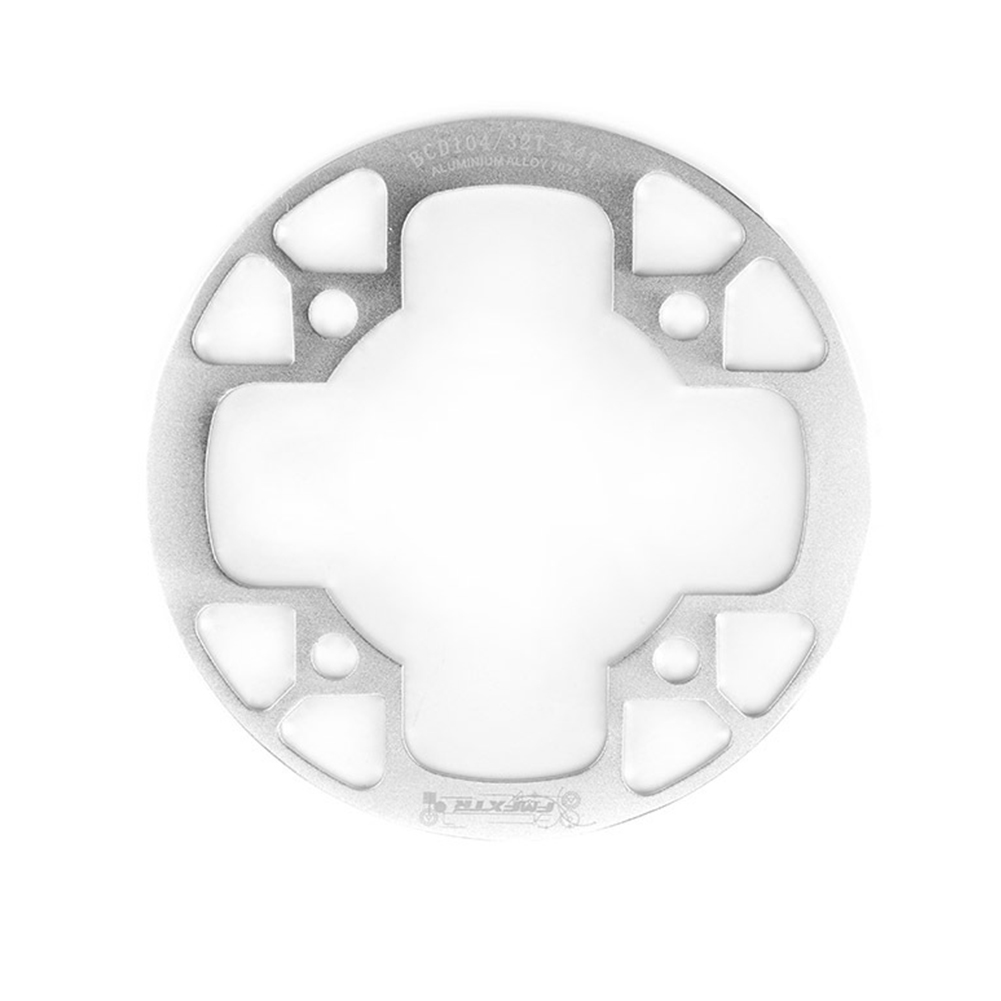 104bcd MTB Bicycle Chain Wheel Protection Cover Bicycle Protection Plate Guard Bike Crankset Full Protection Plate 32-34T silver
