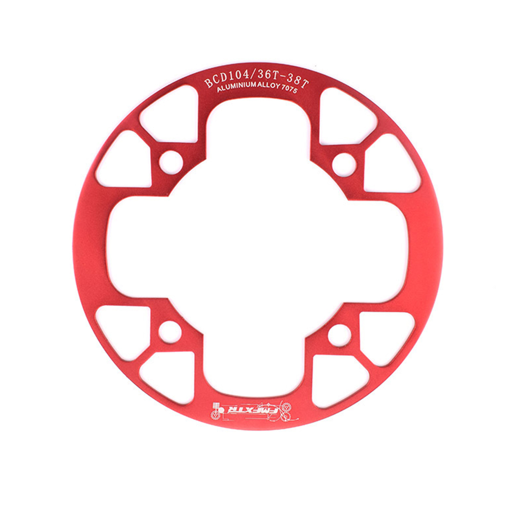 104bcd MTB Bicycle Chain Wheel Protection Cover Bicycle Protection Plate Guard Bike Crankset Full Protection Plate 36-38T red