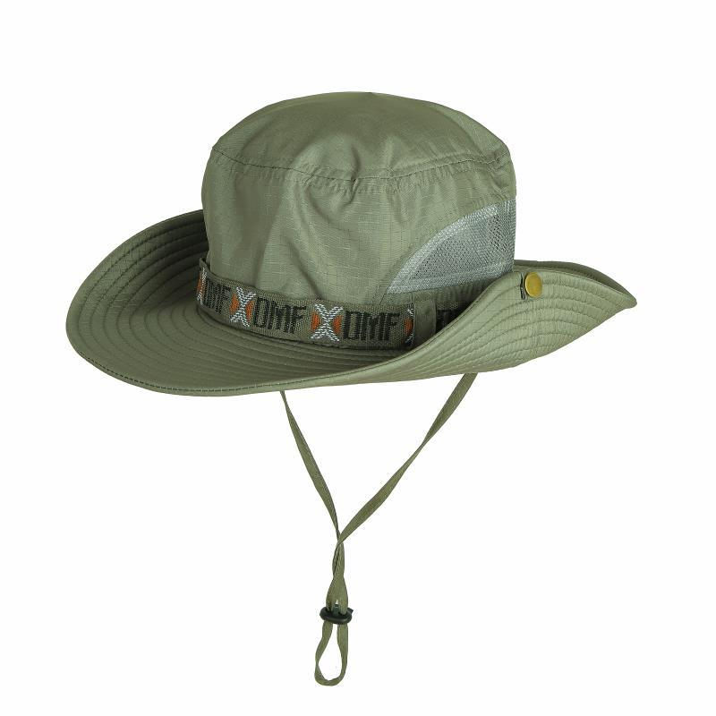 Men UV Protection Bucket Hat Fishing Climing Summer Fisherman Hat for Outdoor Cap Net yarn dark color