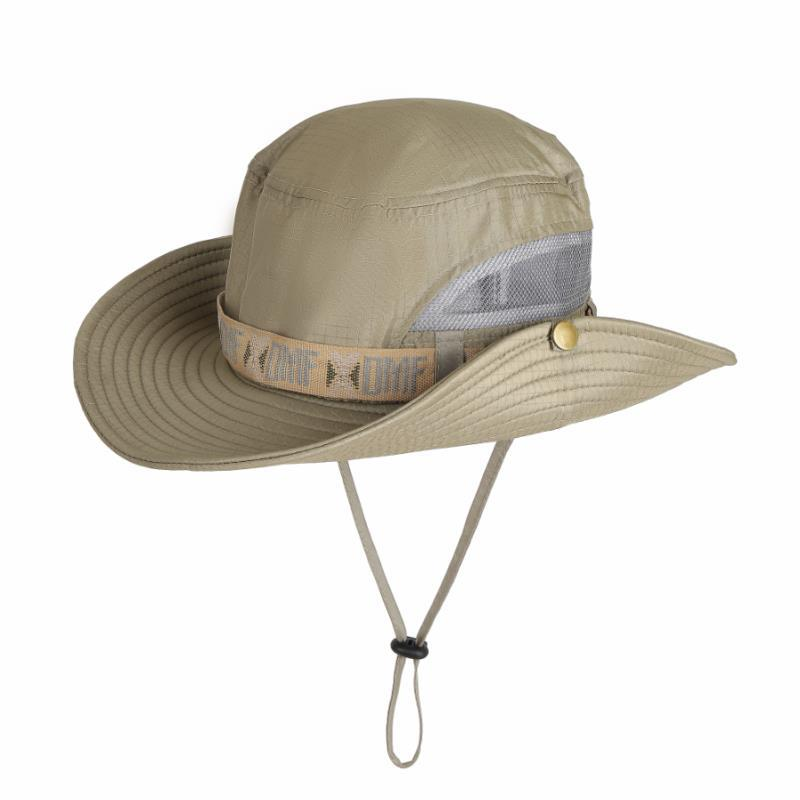 Men UV Protection Bucket Hat Fishing Climing Summer Fisherman Hat for Outdoor Cap Net yarn light color