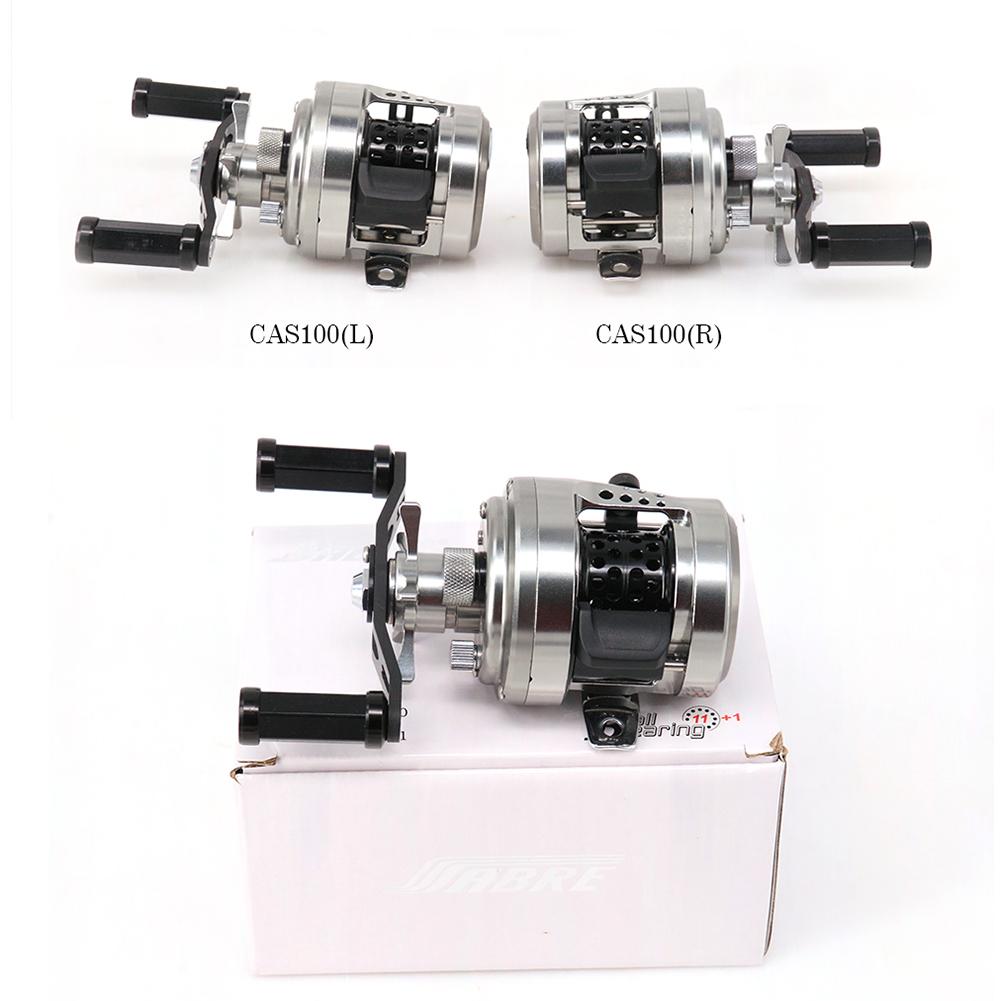 Full Metal Fishing Reel Drum Reel Bait Casting Trolling Lure Reel 11+1 Bearings CAS Spool Carbon Handle CAS101 (left)