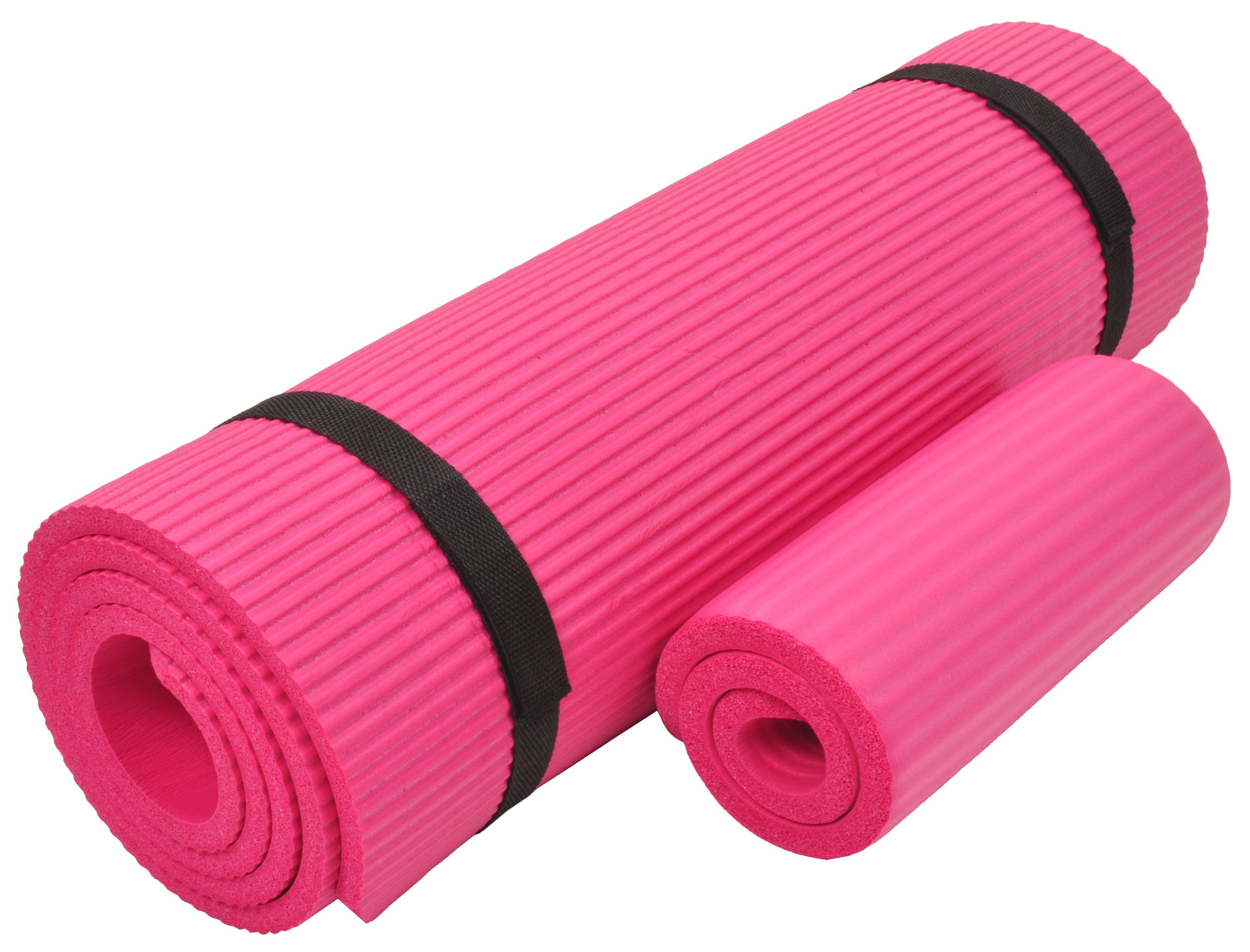 [US Direct] Original BalanceFrom GoYoga+ All-Purpose 1/2-Inch Extra Thick High Density Anti-Tear Exercise Yoga Mat and Knee Pad with Carrying Strap, Blue Pink