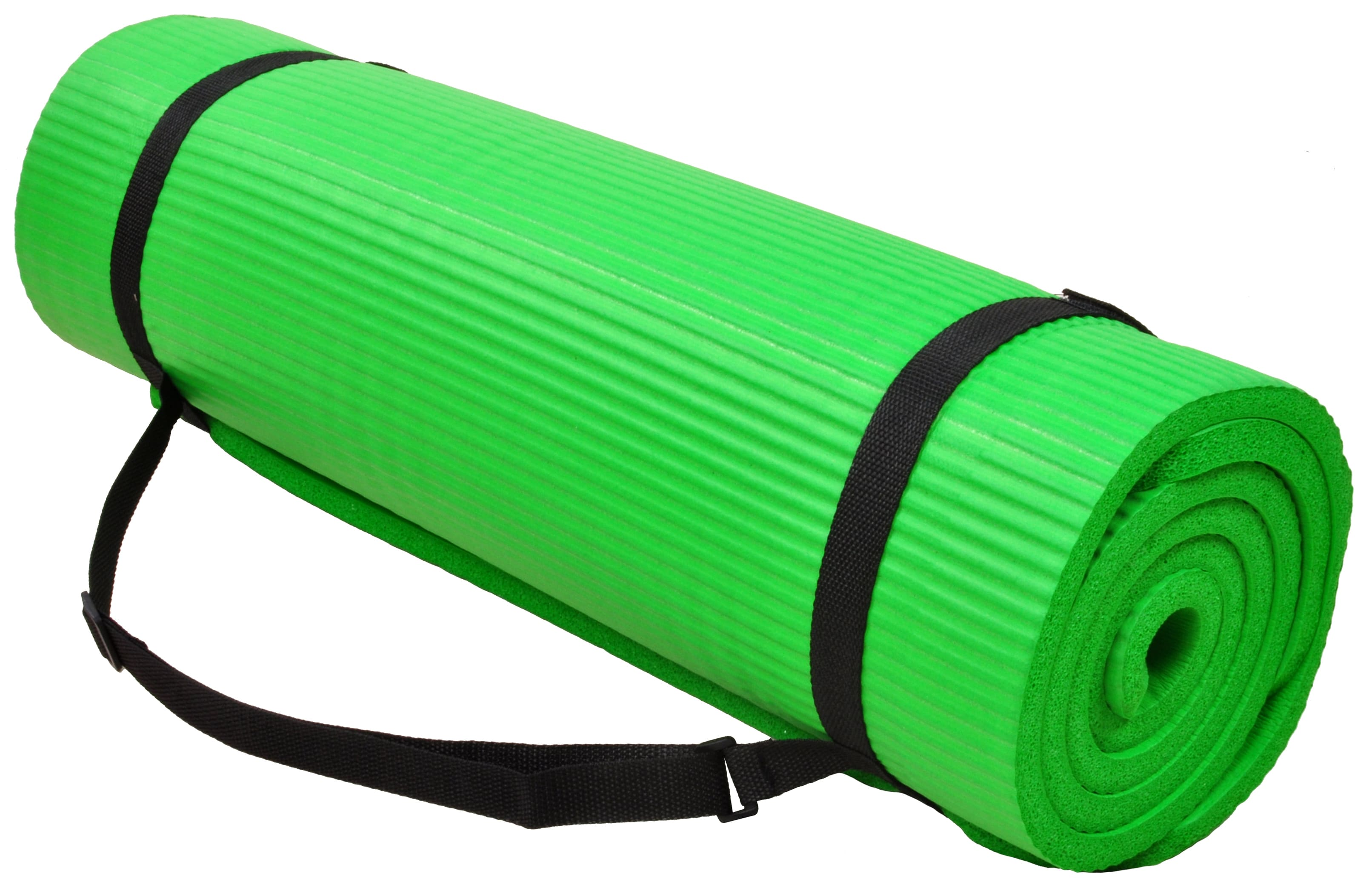 [US Direct] Original BalanceFrom GoYoga+ All-Purpose 1/2-Inch Extra Thick High Density Anti-Tear Exercise Yoga Mat and Knee Pad with Carrying Strap, Blue Green