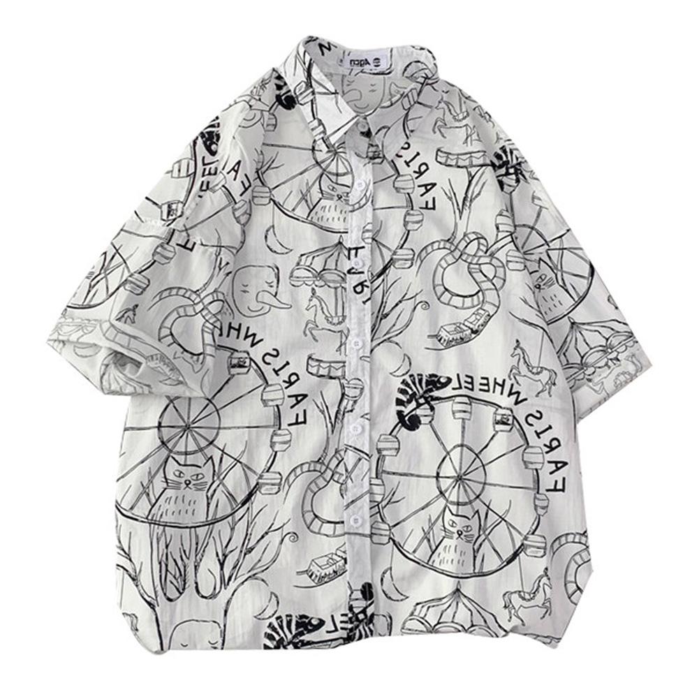 Women Men Leisure Shirt Personality Graffiti Printing Short Sleeve Retro Hawaii Beach Shirt Top Summer C115 #_L