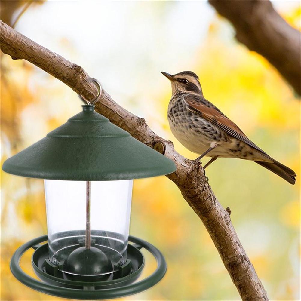 Decorative Hanging Feeder Outdoor  Garden  Decor Bird Food  Container Bird  Food  Holder green_Size: 16.5*16.5*19.5