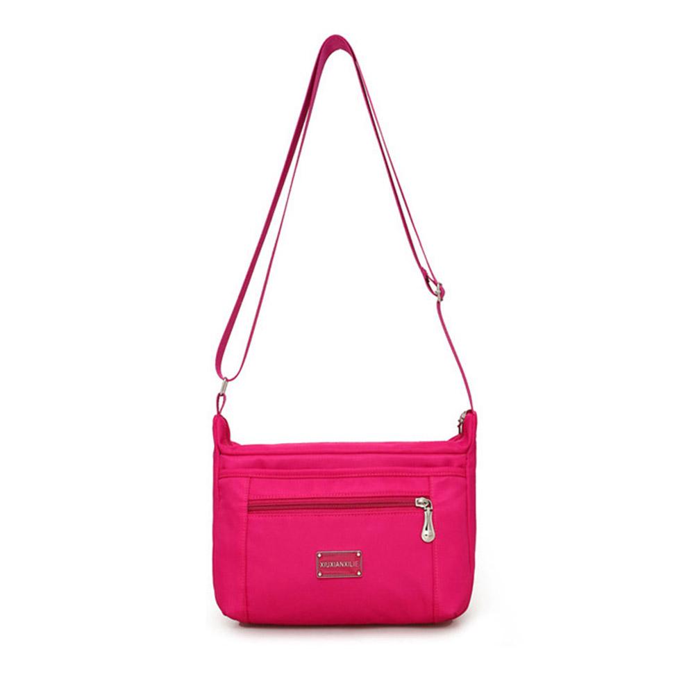 Women Waterproof Zipper Single Shoulder Bag with Adjustable Strap