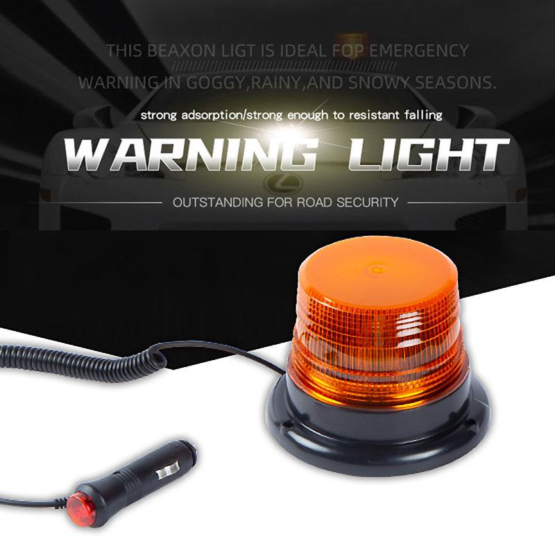 LED Strobe Light 12V/80 Amber Warning Lights Emergency Flashing Beacon Light With Magnetic For Trucks Vehicles Yellow