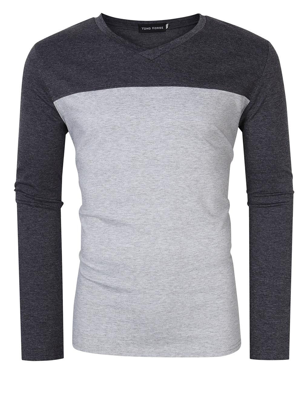 [US Direct] Yong Horse Men's Two Tone Slim Fit Long Sleeve Shirts V-Neck Basic Tee T-Shirt Top flecking gray_XXL