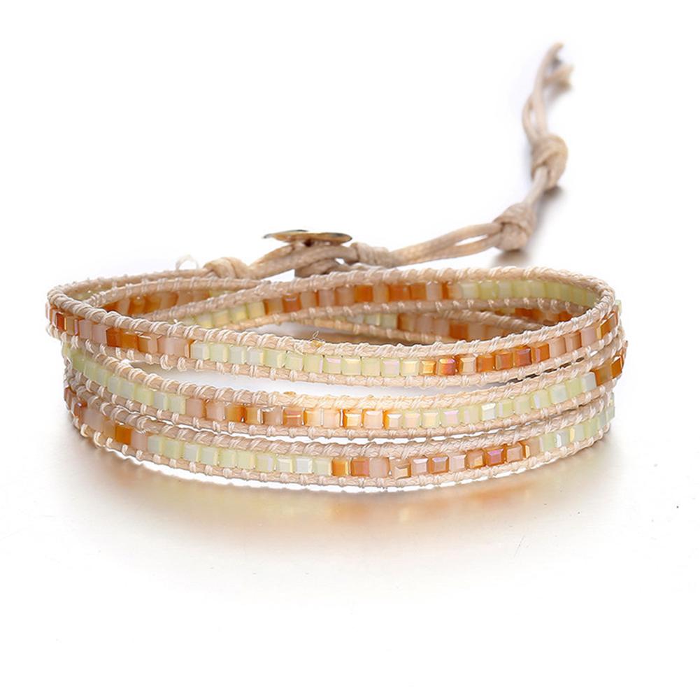Women Men Retro Geometric Bead Colored Braided Multilayer Bracelet A05-02-38