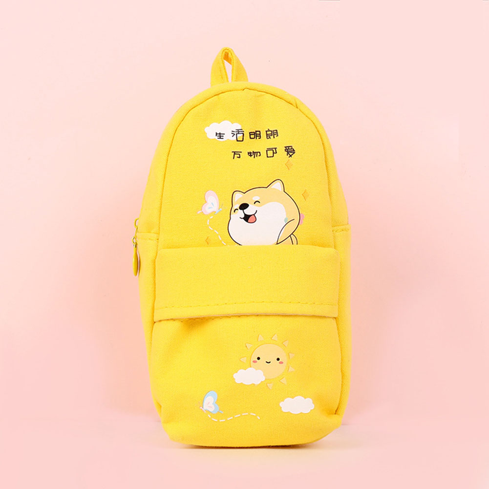 Canvas Pencil Case Large Capacity Zipper Pencil Bag School Stationery yellow life is bright