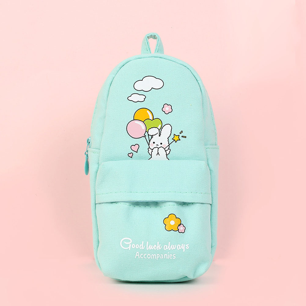 Canvas Pencil Case Large Capacity Zipper Pencil Bag School Stationery white rabbit with green balloon