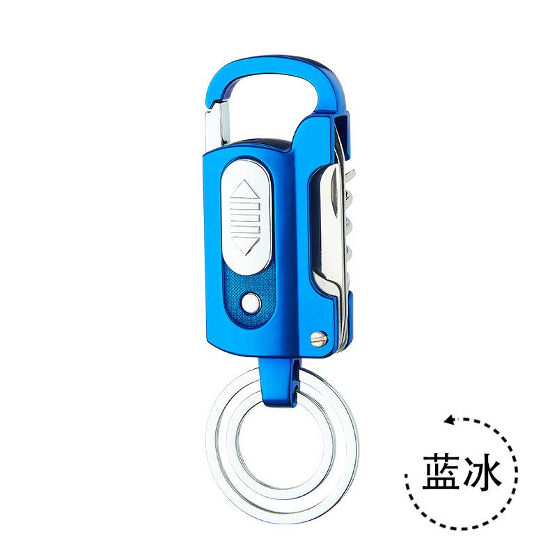Portable Metal Keychain Bottle Opener Lighter Multi-function Key Ring Outdoor Waterproof Tool blue_GQG9