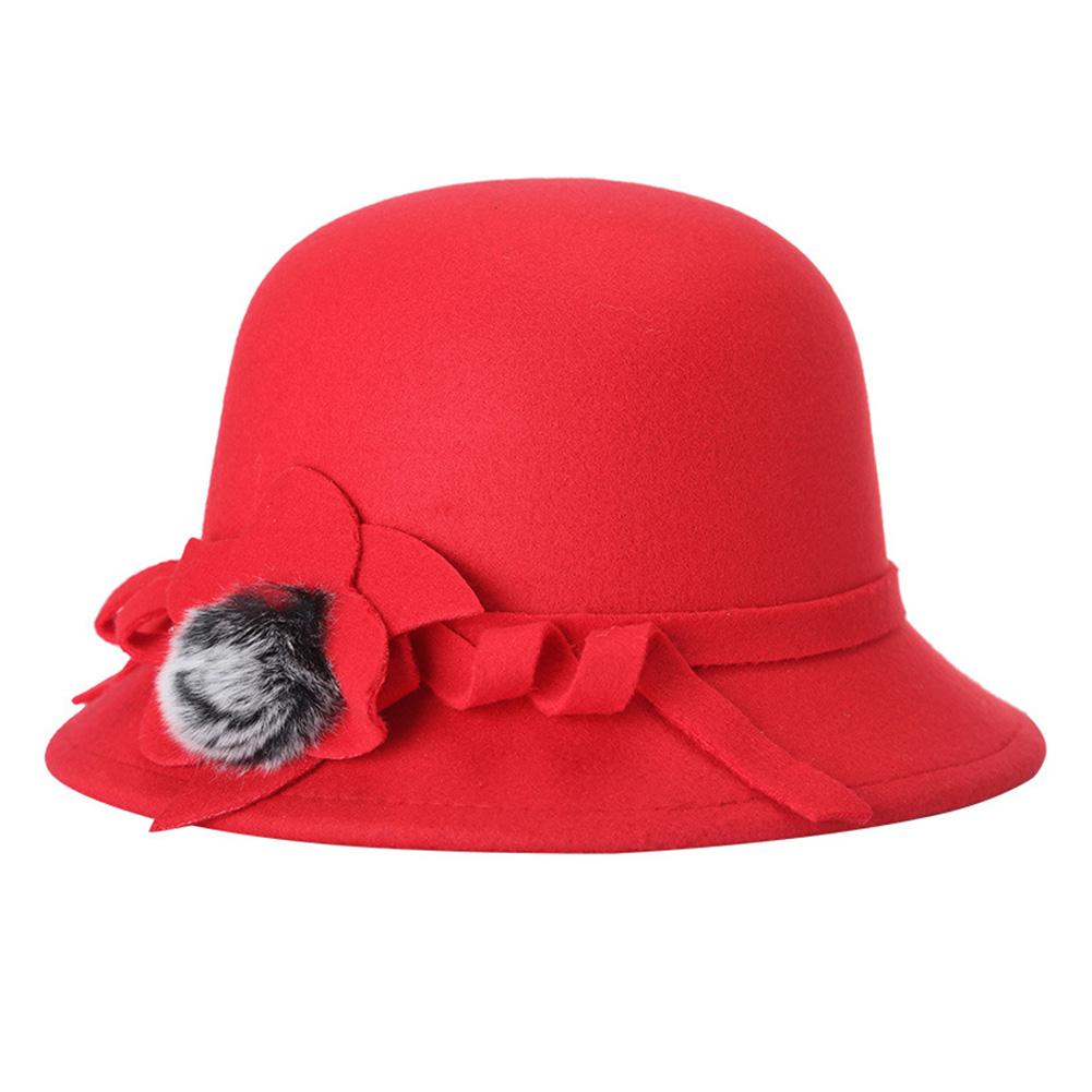 Women Fashion Felt Fedora Hat Spring Autumn Lady Wool Bowler Caps With Pompon Studded