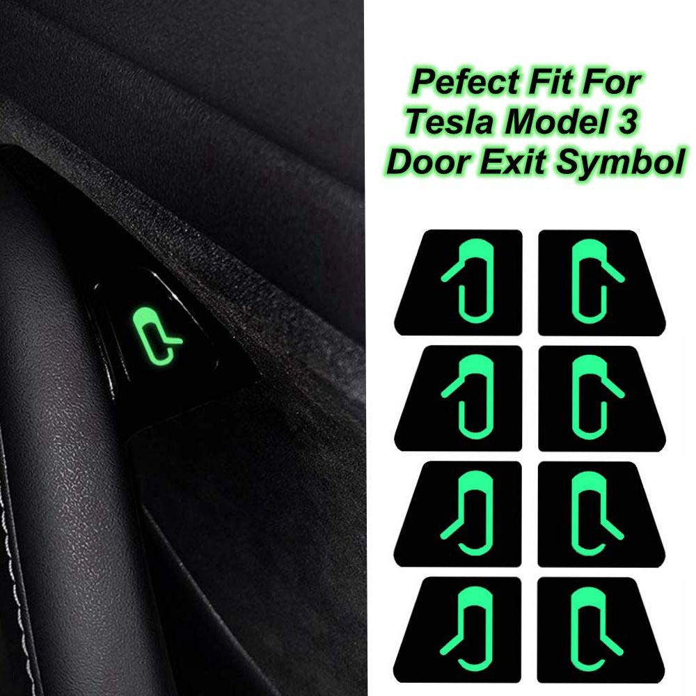 Door Opening Tips White Luminous Sticker Kit Modified Trim for Tesla Model 3 white
