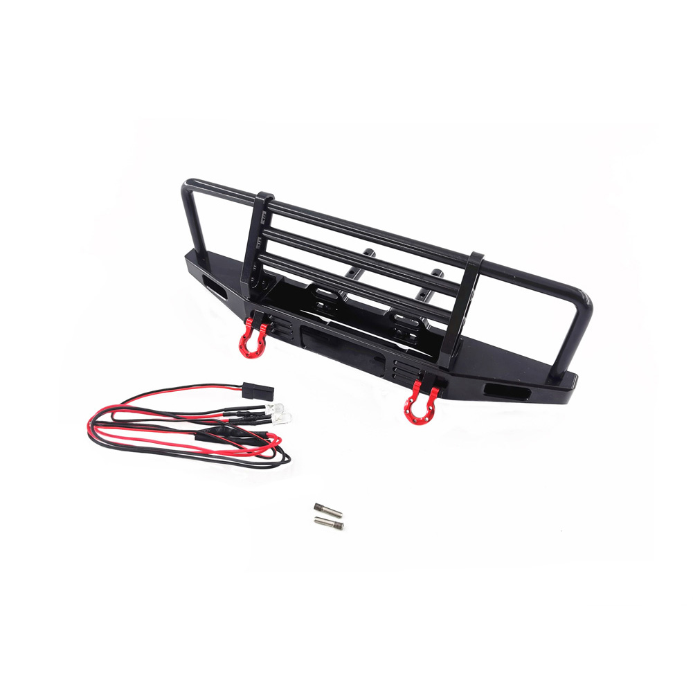 1/10 RC Rock Crawler Metal Front Bumper with Led Light for TRX4 Axial SCX10 9004 RC Parts Accessories for RC Crawler As shown