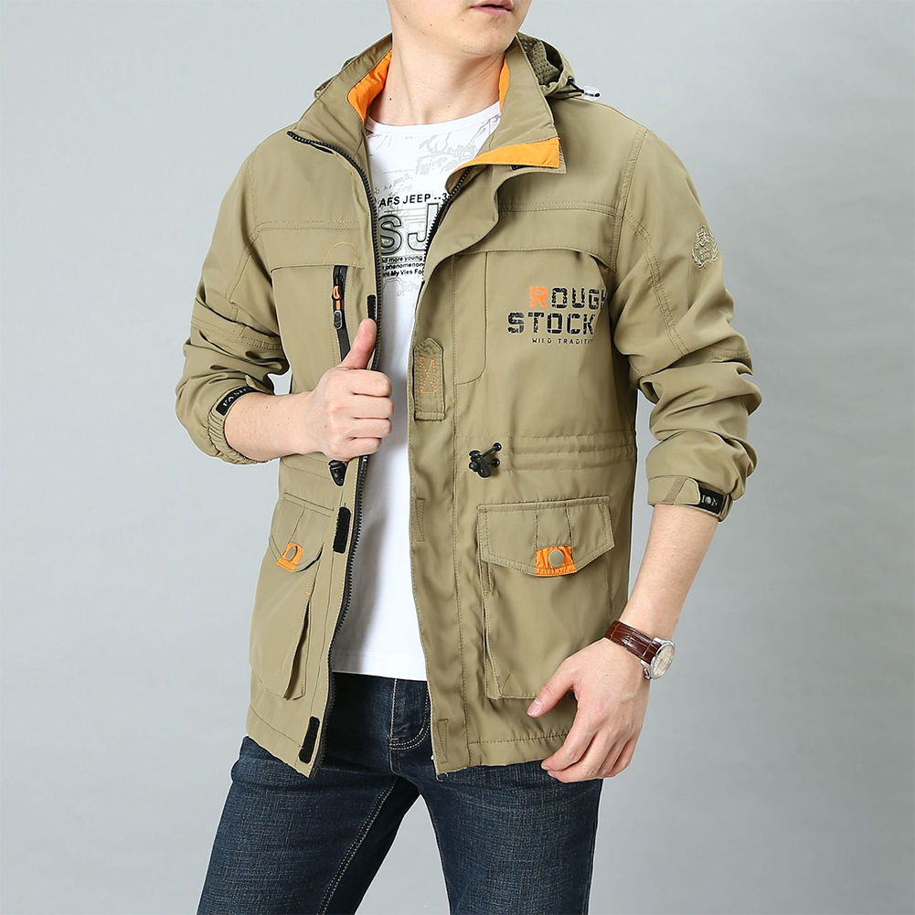 Male Long Sleeves Zippered Sports Wear Casual Hooded Cardigan Outwear Cycling Skiing  Khaki_XXXL
