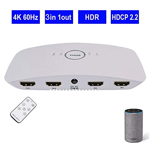 WiFi Smart 4K 3x1 HDR HDMI Voice Switcher Supports Ultra HD 3D Remote Control Power Adapter Compatible Alexa, Wireless Cellphone APP Remote  AU plug