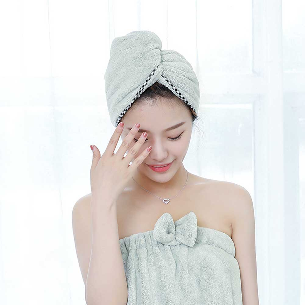 Thicken Hair Drying Towel Hat Cap Microfibre Quick Dry Turban for Bath Shower Pool