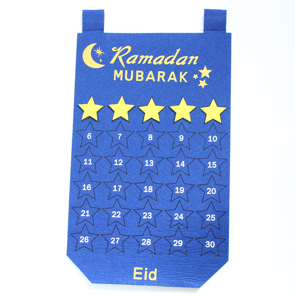 Countdown Calendar Felt Hanging Pendant for Eid Ramadan blue