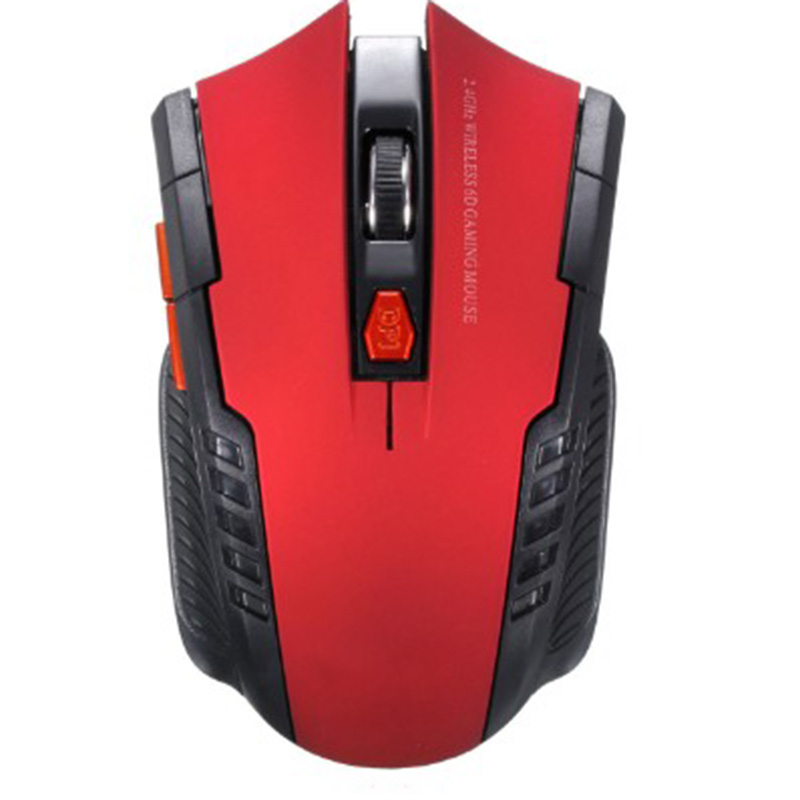 Wireless 2.4GHz Optical Mouse with USB Receiver for Video Game Console for Laptop red