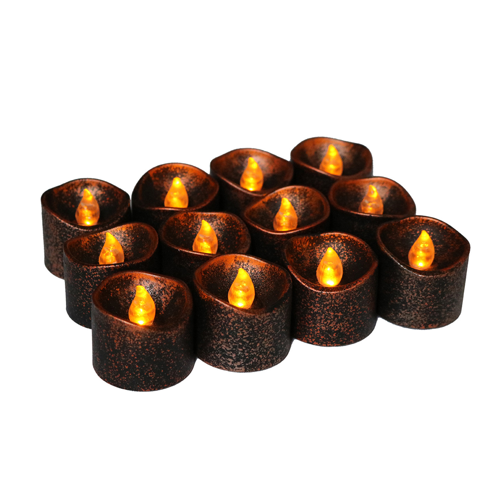 Black Bottom Yellow Flashing LED Electronic Candle Light for Halloween Party Decoration 12pcs
