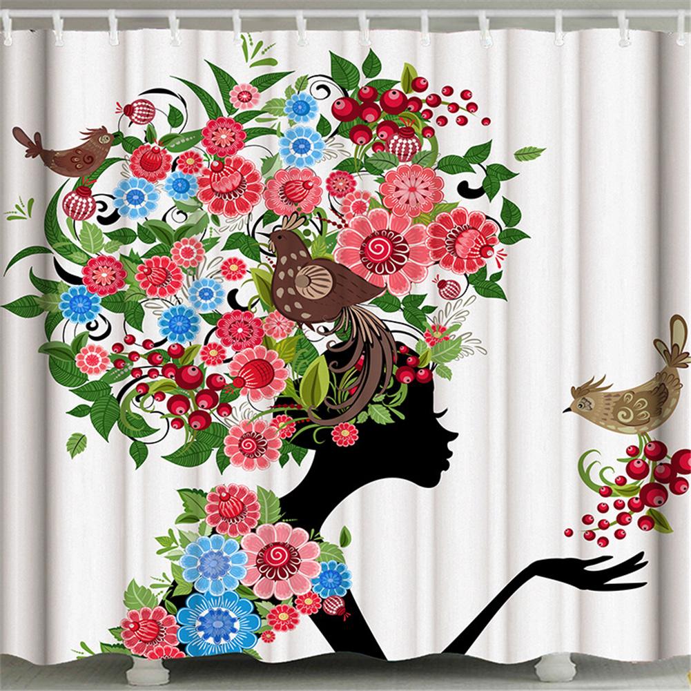 3d Printing Shower  Curtain Waterproof Bathroom Hanging Curtain Decoration Flower and bird girl_150*180cm
