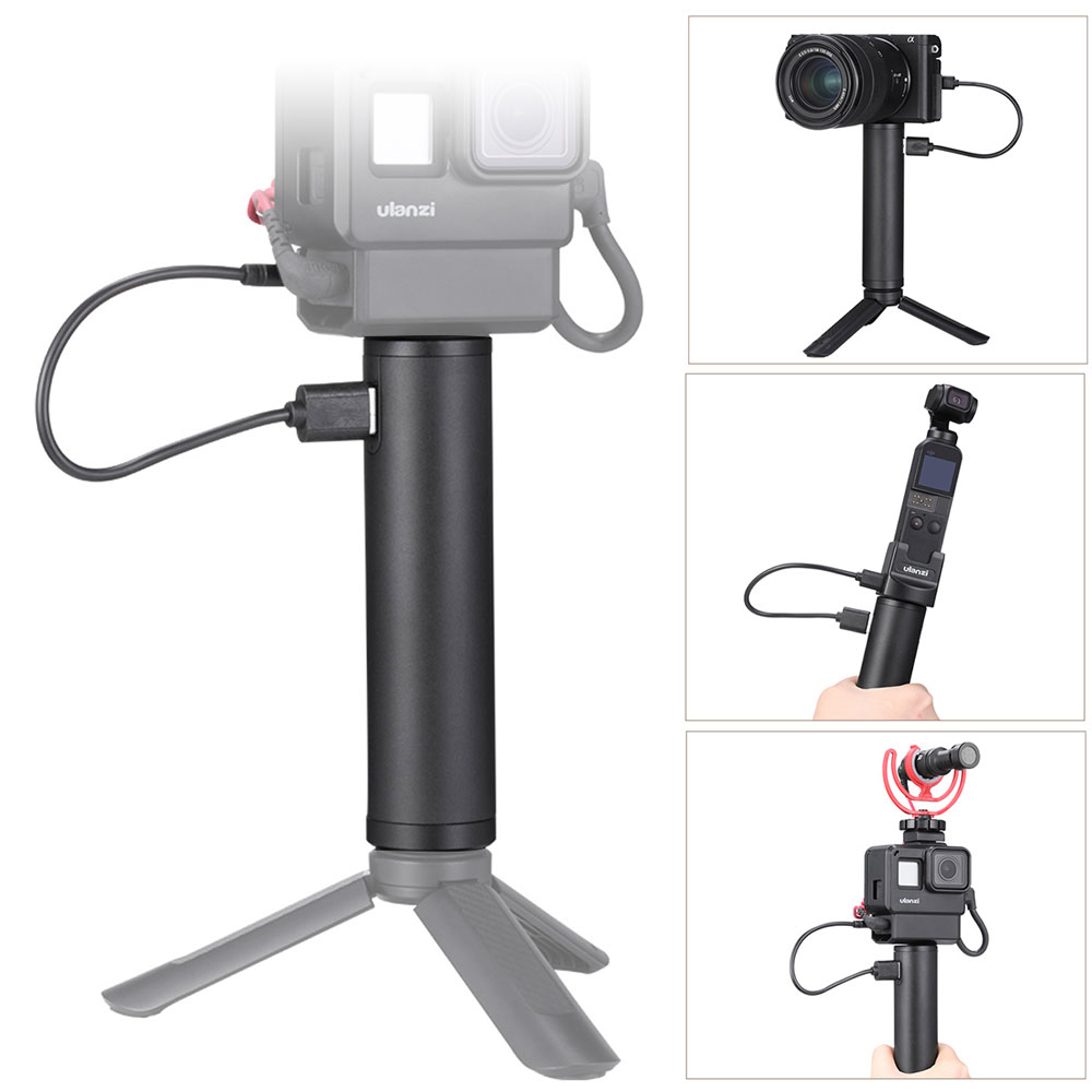 BG-2 Power Grip Stick for Gopro Vlog Selfie Stick Handgrip Type-C Power Supply black