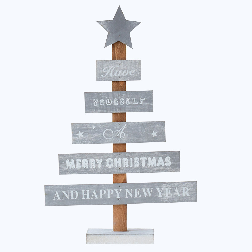 Exquisite Wooden Mini Desktop Christmas Tree Star Home Decoration Ornaments Stylish Decoration gray