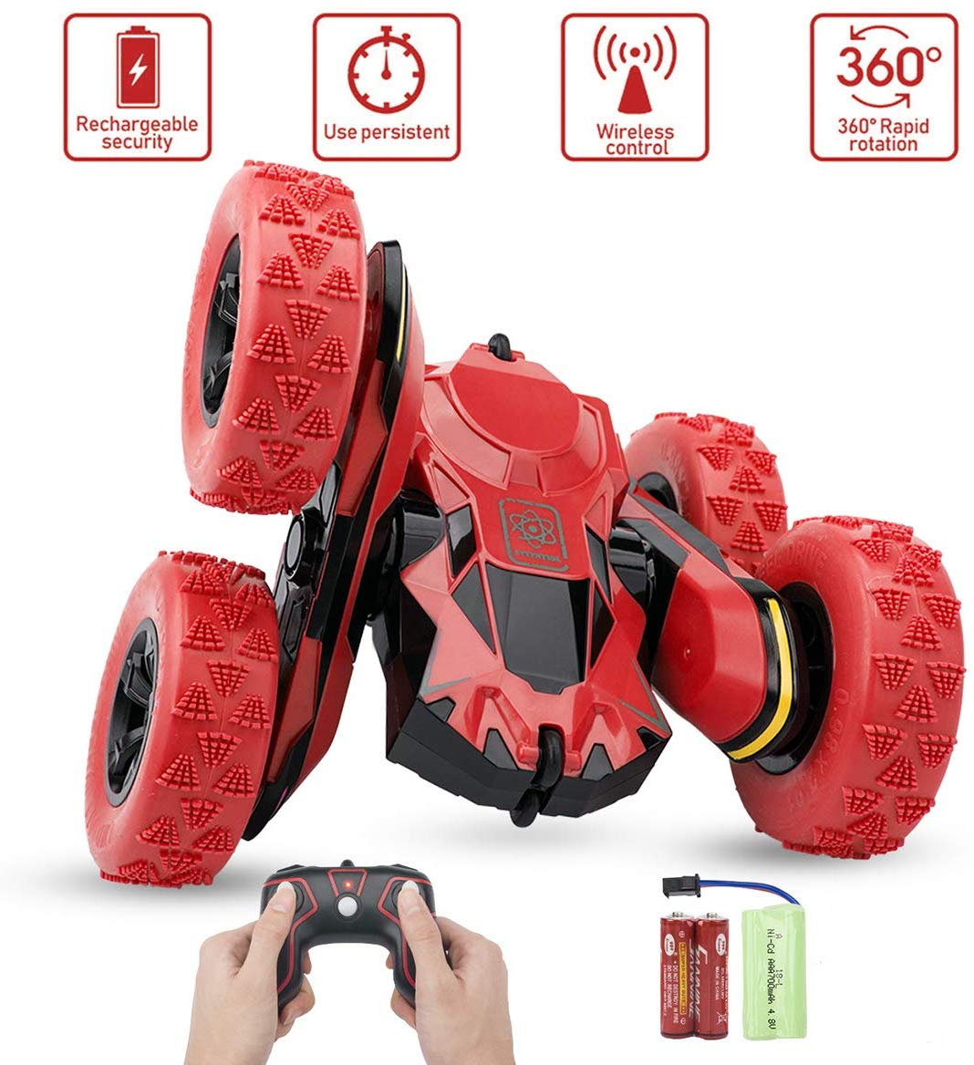 Remote Control Stunt Car Rc 4WD Off Road Rechargeable 2.4Ghz 3D Deformation Racing Car Double Sided Rotating Tumbling 360° Flips Off Road High Speed 7.5Mph Truck red
